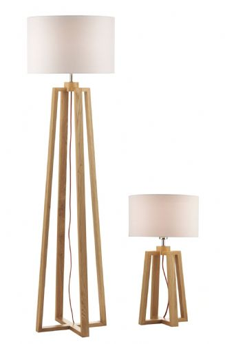 Pyramid Table Lamp & Floor Lamp Twin with Shade PYR4943